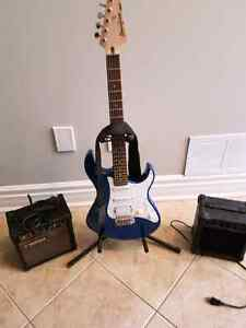 Electric guitar with 2 amps