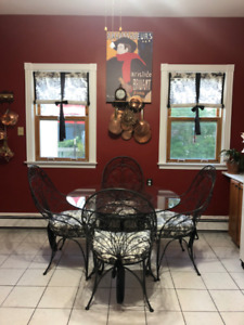 Round Glass Top Wrought Iron  Dining Table