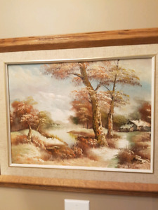 Canvas painting. Wood framed