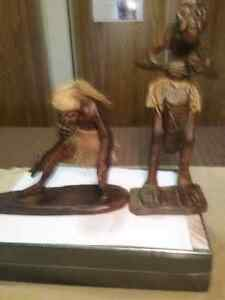 Hand carved wooden statues.