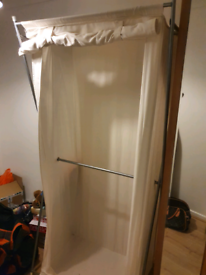 DUAL 2 RAIL FABRIC LARGE WARDROBE IN GOOD CONDITION