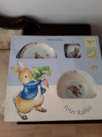 For sale a box of children breakfast cup dish plate Peter Rabbit set
