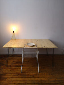 Wood Dining Table with Raw Steel Hairpin Legs