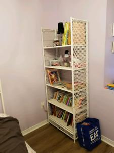 White wicker bookshelf