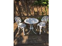 Aluminium bistro table and 2 x chairs