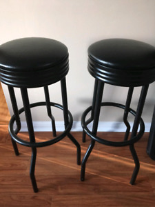 Two Excellent Black Swivel Bar Stools