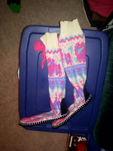 New Knitted slipper socks with rubber sole size large