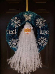 ON SALE!!!!  Santa Claus Christmas Blue wreath