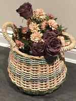 Wicker basket  with handles pastel colors