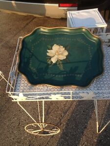 SUN CLOUD ANTIQUE TRAY(GREEN WITH GOLD TRIM)/COLLECTIBLES