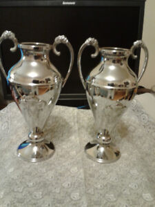 "Flower vases bronze and silver color plated. 8 1/2"" tall"
