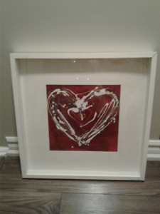 Two IKEA prints - Red Heart and Blue Heart in Ribba frames