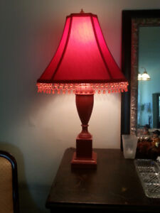Vintage Red Table Lamp with Beaded Shade