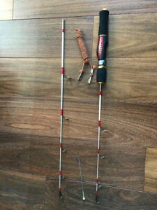 Short long 2 tip ice fishing rod combo, spring bobber, lanyard