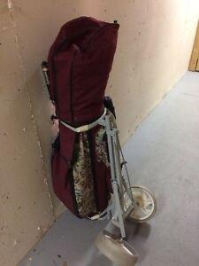 Ladies golf clubs, cart