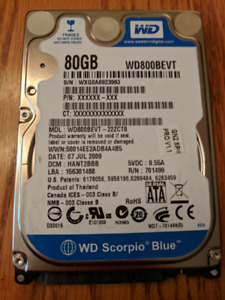Western Digital Scorpio Blue WD800BEVT 80GB 5400 RPM Hard Drive