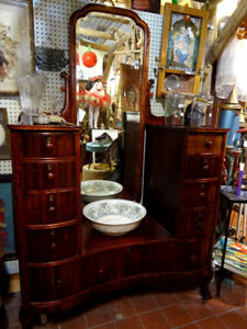 ART DECO dresser vanity cheval mirror ROSEWOOD antique HUGE