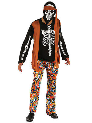 Adult 60s 70s Walking Dead Hippy Skeleton Mens Halloween New Fancy Dress Costume - Dead Hippie Costume