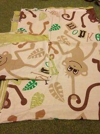Boys girls cot bed duvet pillow set cover monkeys