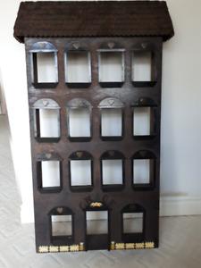 Wooden Picture Shelf, Picture Frames, Round Mirror