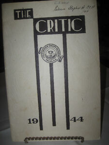 "OLD 1944 ISSUE KEEPSAKE... ""THE CRITIC"" COL. CO. ACADEMY"