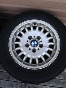 BMW WINTER TIRES ON ALLOY RIMS 15""