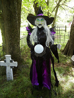 ANIMATED 6 FOOT LIFE SIZE  MINDY the WITCH with MAGICIAL GLOBE HALLOWEEN PROP - The Halloween Ball