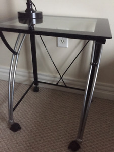 Glass Top Desk and Printer Stand