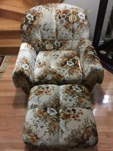 Velvet  sofa chair and foot rest, excellent 10/10 condition