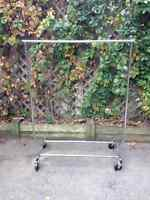 Heavy Duty Silver Metal Rolling Rack (2 available)
