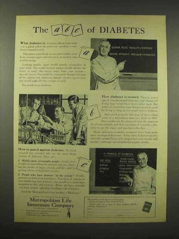 1944 Metropolitan Life Insurance Ad - ABC of Diabetes
