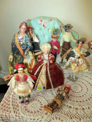 8 VINTAGE FOREIGN DOLLS, MADE IN SPAIN, MARIN CHICLANA 6-11 INCH - $30.00