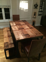 Reclaimed Wood Table & Benches - $2250.00 obo