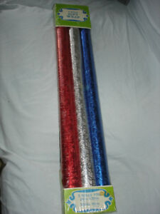VINTAGE EMBOSSED FOIL GIFT WRAP, Unopened Pack Red Blue Silver