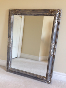 Antique Pewter Gray Bevelled Glass Wood Mirror ... **NEW **