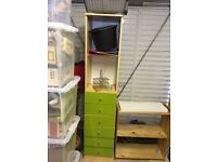 Wardrobe, chest of drawers and tall unit with drawers
