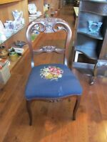 Victoria Wooden Carved Occasional Chair with needlepoint Seat