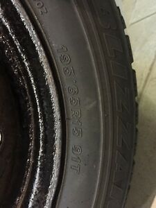 P195/65R15 Winter tires on rims set of 4 Honda Stratford Kitchener Area image 3