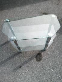 Stylish all glass corner TV shelf unit