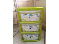 Childrens plastic draws/toy storage. Green with dinosaurs.