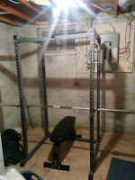Squat Rack, Bench, and Olympic Weights (Full Gym)