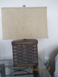 Unique style Table Lamp with ceramic Basket weave style base.