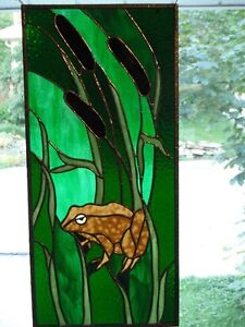 Stained Glass Frog and Cattail panel