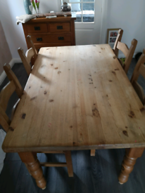 Solid wood farmhouse style Dining table and chairs