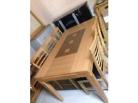 Solid oak table £240 chairs £35 each new