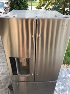 LG French door stainless steel refrigerator for sale.