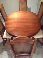 Antique dining table, chairs and hutch