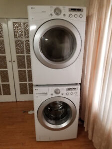 """LG WHITE 27"""" FRONT LOAD STACK WASHER ELECTRIC DRYER LAUNDRY"""