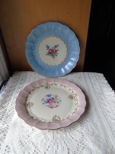 Royal Bayreuth Lunch Plates, Pink and Blue Pair