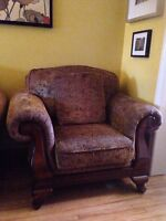 Leather Sofa & 2 matching paisley fabric chairs